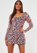 Missguided Black Floral Mesh Ruched Mini Dress