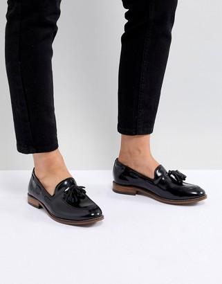 H By Hudson Leather Tassle Flat Shoes-Black