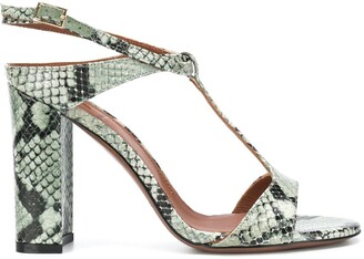 L'Autre Chose Python Skin-Effect Block-Heel Sandals