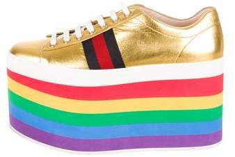 Gucci 2017 Peggy Metallic Platform Sneakers