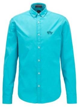 HUGO BOSS Regular-fit button-down shirt in stretch-cotton poplin