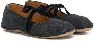 Pépé Kids velvet tie Mary Jane shoes