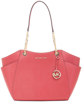 Michael Kors Women's Totebags SCARLET - Scarlet Jet Set Travel Chain-Strap Leather Tote