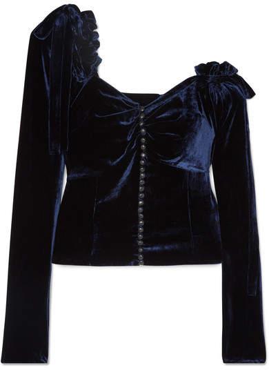 Magda Butrym Leticia One-shoulder Ruffled Silk-velvet Top - Navy