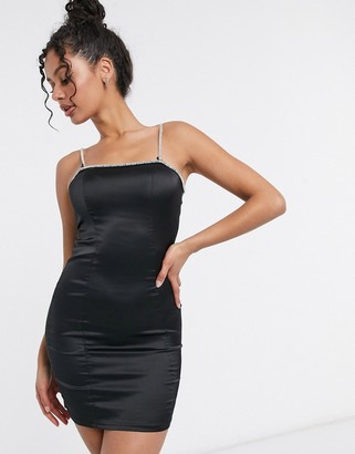 Femme Luxe exclusive diamante strap mini pencil dress in black