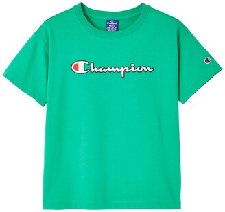 Champion Cotton Logo T-Shirt with Short Sleeves and Crew Neck