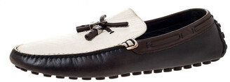 Louis Vuitton Tricolor Leather Bow Loafers Size 43.5