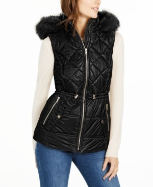 Michael Kors Michael Hooded Faux-Fur-Trim Puffer Vest