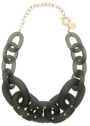 Vanda Jacintho - Studded Exaggerated-chain Choker Necklace - Womens - Dark Green