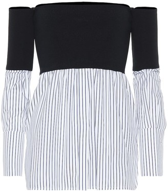 Victoria Victoria Beckham Off-the-shoulder cotton-blend top