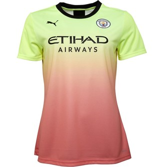 Puma Womens MCFC Manchester City Authentic Third Jersey Yellow/Peach