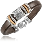 Forzieri Tedora Silver Band Leather Bracelet