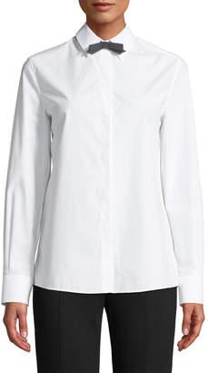 Escada Long-Sleeve Button-Front Cotton Shirt w/ Removable Bow Tie