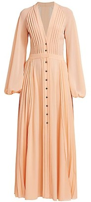 Chloé Pleated Long Sleeve Maxi Dress