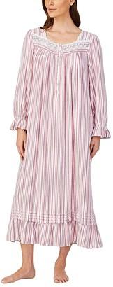 Eileen West Cotton Flannel Long Sleeve Ballet Gown (Wine Stripe) Women's Pajama