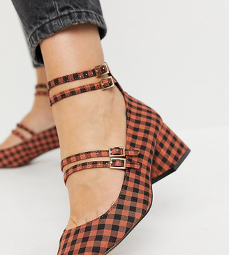 ASOS DESIGN Wide Fit Wilma Mary Jane mid heels in check