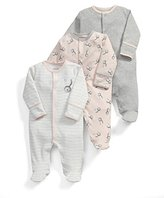 Mamas and Papas Baby Girls' 3Pk Bunny Aio Footies,12-18 Months pack of 3