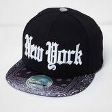 River Island Boys black New York cap