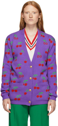 Gucci Purple Jacquard GG Cherry Cardigan