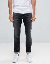 Selected Homme Grey Wash Jersey Jeans In Slim Fit