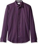 Calvin Klein Men's Long Sleeve Small Scale Herringbone Plaid Button Down Shirt