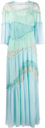 Alberta Ferretti pleated lace-insert gown