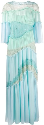 Alberta Ferretti Pleated Lace-Insert Gown
