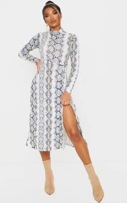 PrettyLittleThing White Snake Print Midi Dress