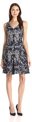 Taylor Dresses Women's V Neck Jacquard with X Back