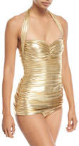 Norma Kamali Bill Mio Halter Shirred Metallic One-Piece Swimsuit
