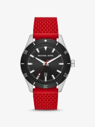 Michael Kors Oversized Layton Silver-Tone and Silicone Watch