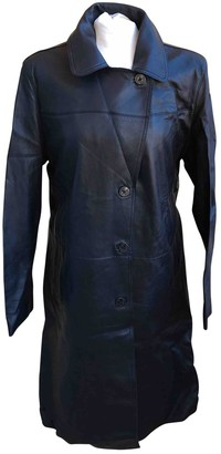 Armani Jeans Black Leather Coat for Women