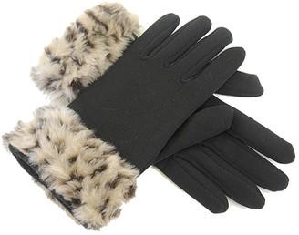 Gloves Ladies Leopard Fur Trim Black Winter
