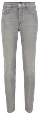 HUGO BOSS Tapered-fit jeans in grey super-stretch denim