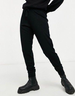 Object knitted co-ord jogger in black