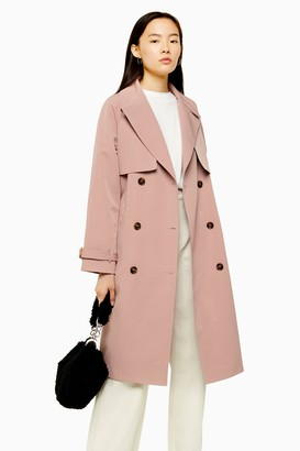 Topshop Womens Pink Stitch Trench Coat - Dusty Pink