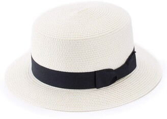 Lawliet Lady Boater Sun Caps Ribbon Round Flat Top Straw Beach Hat Summer Hats for Women (Ivory)