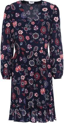Claudie Pierlot Rosace Gathered Floral-print Silk Crepe De Chine Dress
