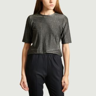 agnès b. Black Viscose Brando Lurex T-Shirt - 1   viscose   black - Black/Black