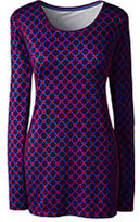 Classic Women's Active Long Sleeve Tunic Top-Bright Eggplant/Pink Stripes