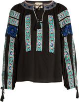 Sea Folk-embroidered cotton blouse