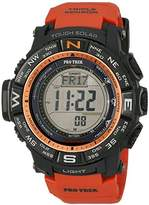 Casio Men's PRW-3500Y-4CR Atomic Black Digital with Red Resin Band, Watch