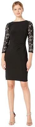Lauren Ralph Lauren Classic Matte Jersey Eugena Long Sleeve Day Dress (Black) Women's Clothing