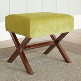 Chatham House Upholstered Ottoman with Wood Legs in Lime