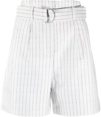 Karl Lagerfeld Paris Pinstripe-Print Belted Shorts
