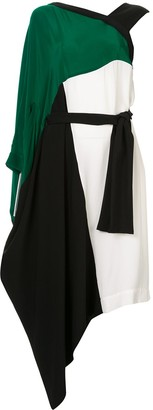 Taylor Equilateral colour block asymmetric dress
