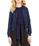 Lucy Paris Crew Neck Embellished Tweed Bomber Jacket