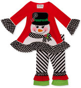 Rare Editions 2-Pc. Holiday Ruffle Tunic and Leggings Set, Toddler Girls (2T-5T)