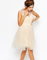 Little Mistress Ruched Bodice Skater Dress With Pleated Tulle Skirt