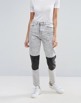 WÅVEN Elsa Knee Patch Acid Wash Mom Jeans